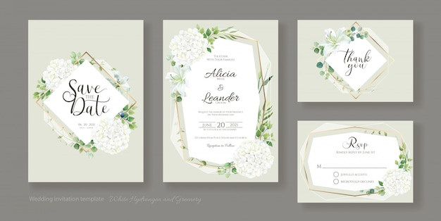 Wedding invitation, save the date, thank you, rsvp card template. hydrangea flower with greenery. Premium Vector