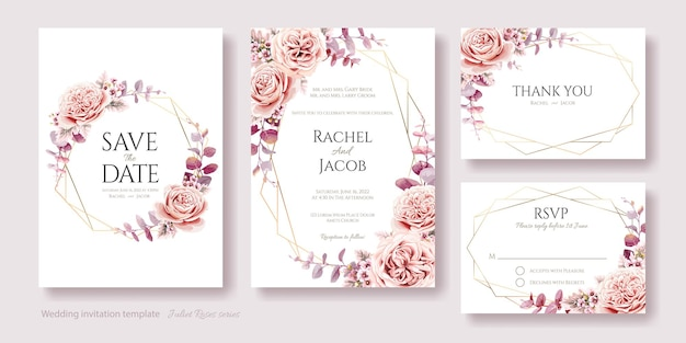 Wedding invitation save the date thank you rsvp card template juliet rose and eucalyptus leaves