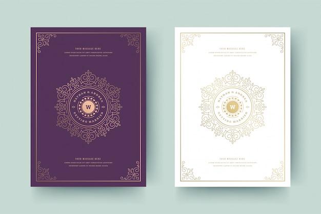 Свадебные приглашения сохранить шаблон карты свидания золотые завитки украшения виньетки завитки