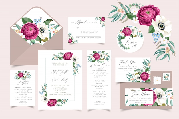 結婚式の招待状、花の花束のフレームデザインで日付カードを保存します。