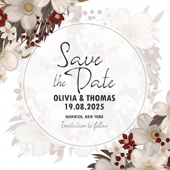결혼식 초대장. 날짜 카드를 저장하십시오.