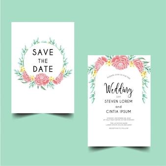 Приглашение на свадьбу сохранить дату пион розовый