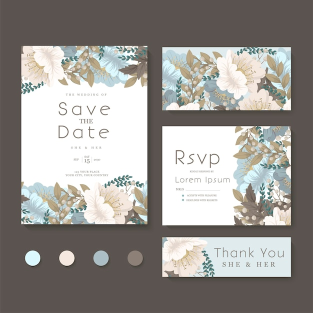 청첩장, 날짜 저장, 감사합니다, rsvp 카드 디자인 템플릿.