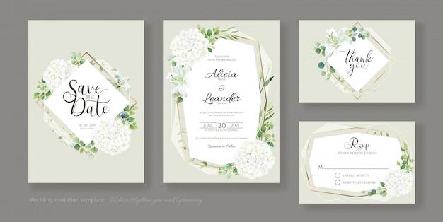 結婚式の招待状、日付を保存、ありがとう、rsvpカードテンプレート。緑のアジサイの花。