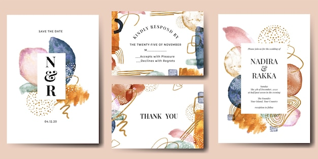 Wedding invitation set of abstract modern watercolor shapes