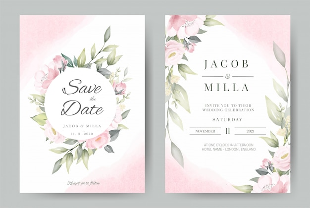 Wedding invitation set card template wreath design with rose flower watercolor bouquet  .