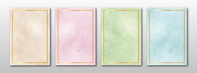 Wedding invitation set of creative minimalist hand painted abstract watercolor