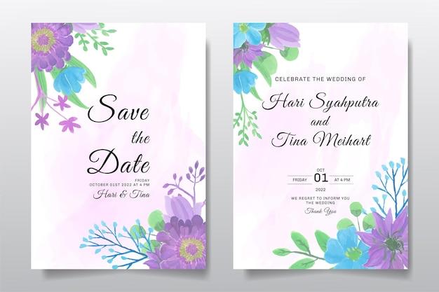 청첩장 수채화 보라색 꽃 또는 잎 인사말 카드 설정