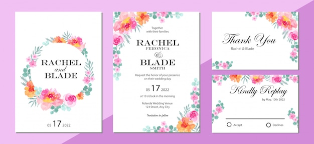 Wedding invitation set, invitation card, thank you, rsvp