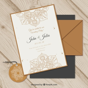 Wedding invitation set in mandala style