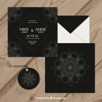 Wedding invitation set in mandala style
