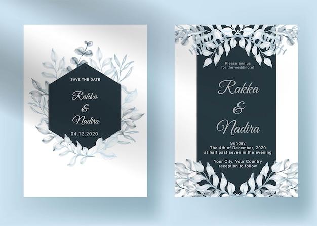 Набор свадебных приглашений современная форма с зеленью акварель пастельный лист