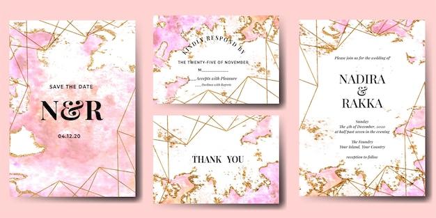 抽象的な水彩スプラッシュピンクゴールドの結婚式の招待状セット