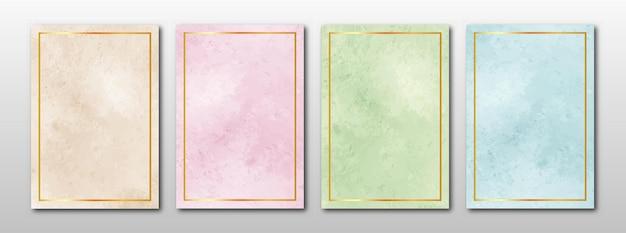 創造的なミニマリストの手描きの抽象的な水彩画の結婚式の招待状のセット