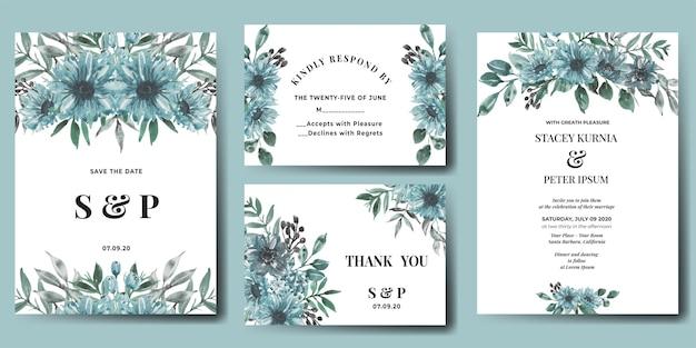 水彩花冬ブルースの結婚式の招待状セット