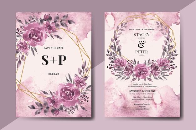 背景抽象と水彩花の結婚式の招待状セット