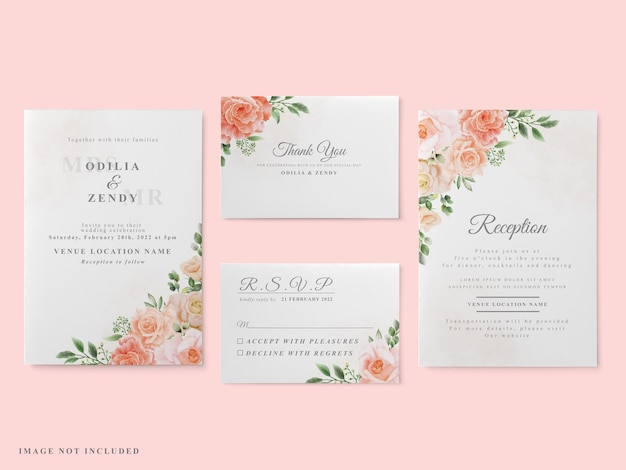 Свадебные приглашения набор красных роз дизайн