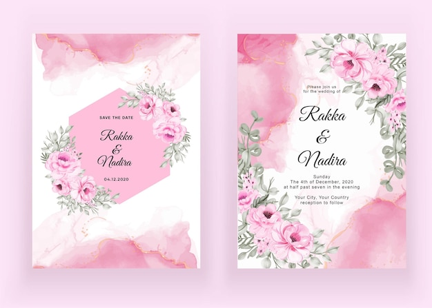 Wedding invitation set of rose pink