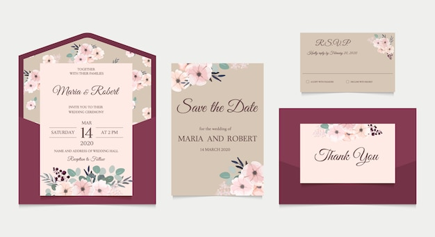 Wedding invitation set in rustic style with pink flowers. wedding envelope, invitation, rsvp, save the date card template.