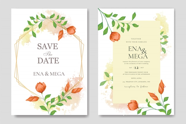 Wedding invitation set template with beautiful floral