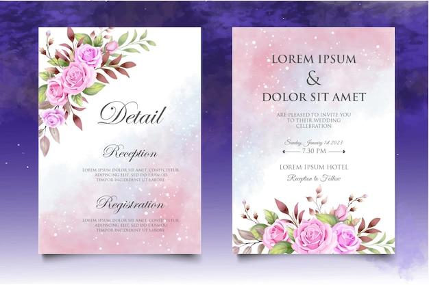 美しい花と葉の結婚式の招待状セットテンプレート