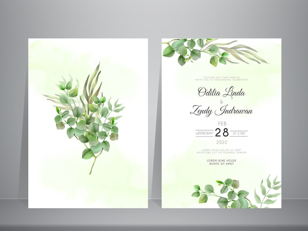 Wedding invitation set template with elegant eucalyptus hand drawn