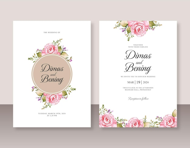 花の水彩画と結婚式の招待状セットテンプレート