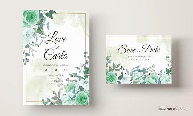 Wedding invitation set template with greenery floral