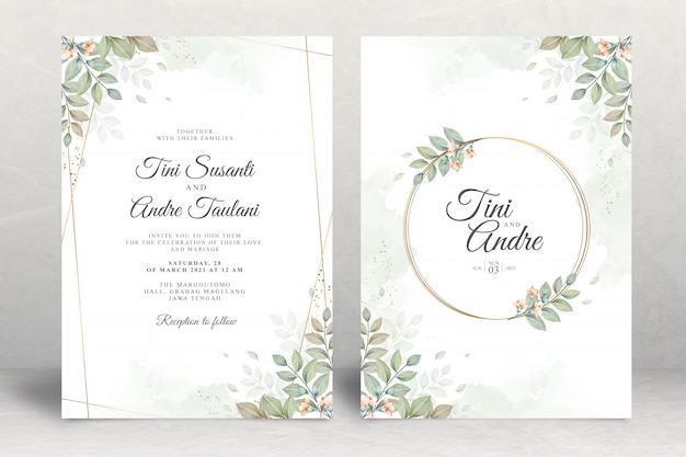 Wedding invitation set template with leaves watercolor