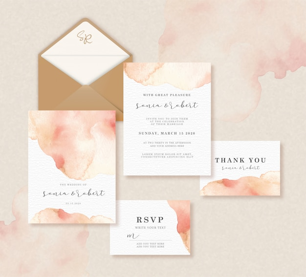 Wedding invitation set template with vintage watercolor