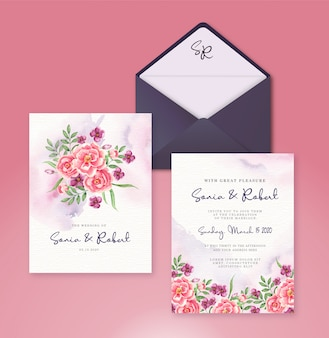 Wedding invitation set template with watercolor flowers