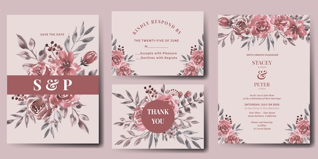 Wedding invitation set of watercolor flower maroon