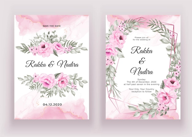 Wedding invitation set of watercolor flower pink and leaf