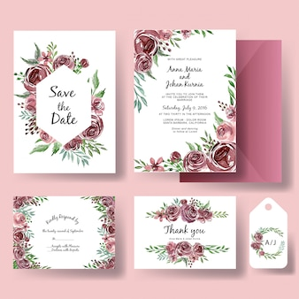 Wedding invitation set of watercolor flower purple template
