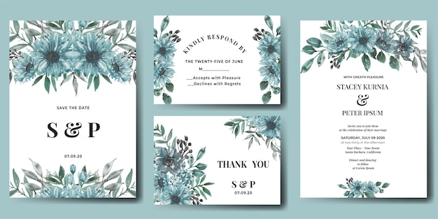 Wedding invitation set of watercolor flower winter blues