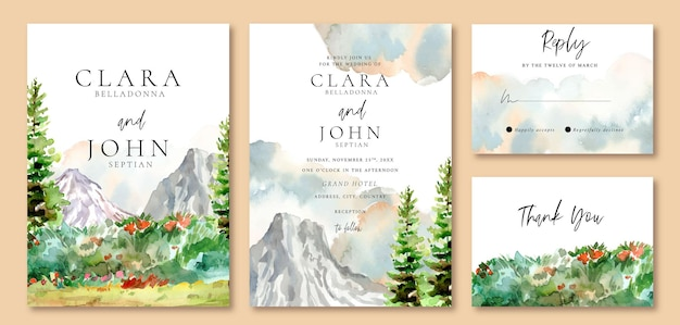 Wedding invitation set of watercolor landscape icy mountain with green fresh pine trees