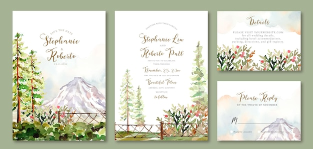 Wedding invitation set of watercolor landscape of pine trees in the garden