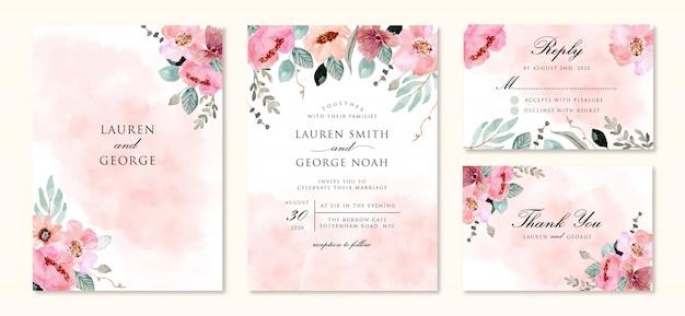 抽象とピンクの花の水彩画で設定された結婚式の招待状