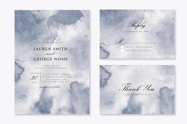 抽象的な灰色の水彩画の背景と結婚式の招待状を設定します。