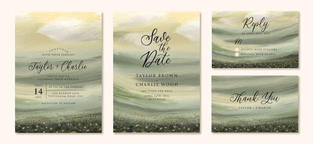 Wedding invitation set with abstract landscape painting background