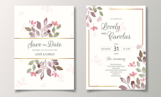 Wedding invitation set with beautiful floral and leaves watercolor