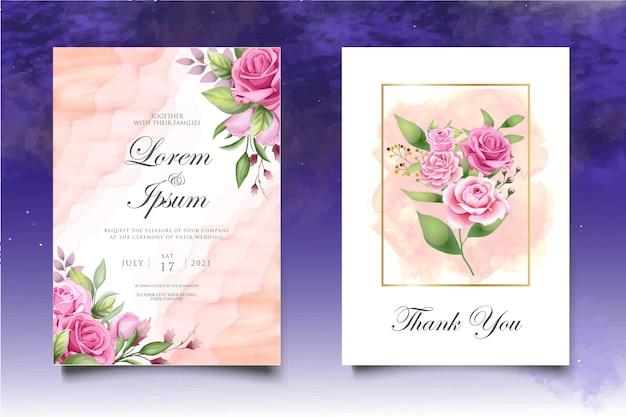 아름 다운 꽃과 잎으로 설정 청첩장