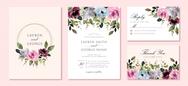 Wedding invitation set with beautiful flower garden watercolor frame