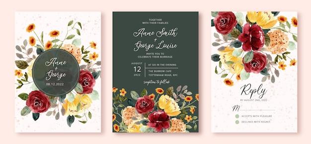 Свадебные приглашения с красивым цветочным садом акварель