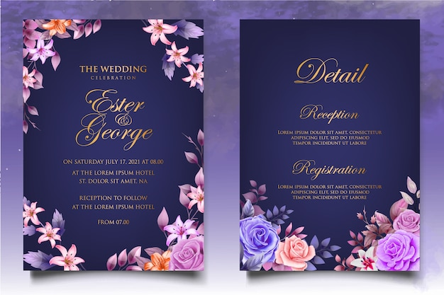 Wedding invitation set with beautiful flower and leaves