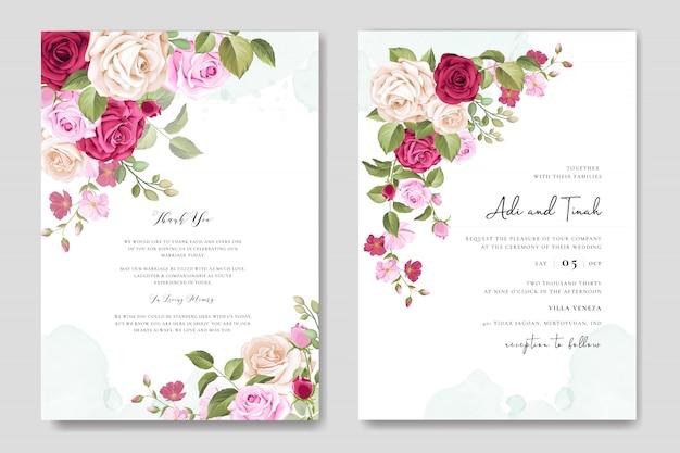 Свадебное приглашение с красивыми цветами и листьями