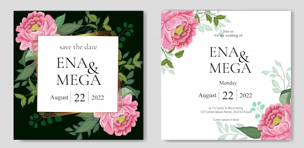 Wedding invitation set with beautiful flowers leaves