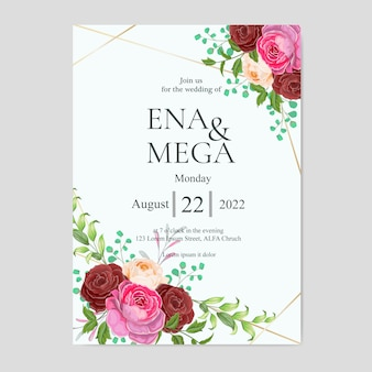 Wedding invitation set with beautiful red pink flowers and leaves