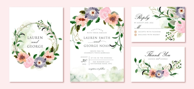 Wedding invitation set with beautiful rustic floral watercolor