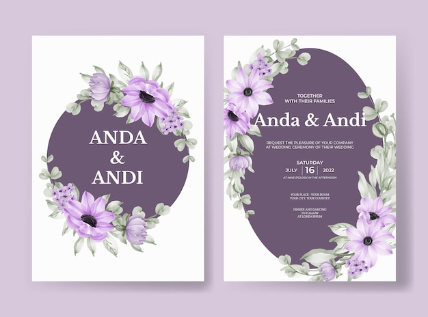 Свадебные приглашения с красивым мягким фиолетовым цветком и листьями